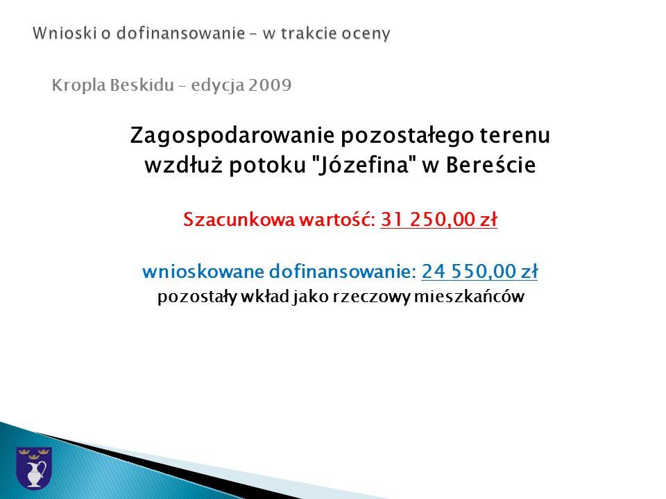 Kropla Beskidu – edycja 2009 Zagospodarowanie pozostałego terenu wzdłuż potoku Józefina w Bereście Szacunkowa wartość: 31 250,00 zł wnioskowane dofinansowanie: 24 550,00 zł pozostały wkład jako rzeczowy mieszkańców