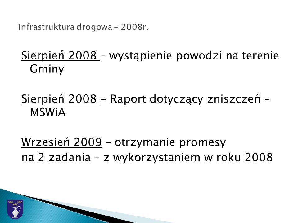 Sierpień 2008 – wystąpienie powodzi na terenie Gminy Sierpień 2008 - Raport dotyczący zniszczeń – MSWiA Wrzesień 2009 – otrzymanie promesy na 2 zadania – z wykorzystaniem w roku 2008