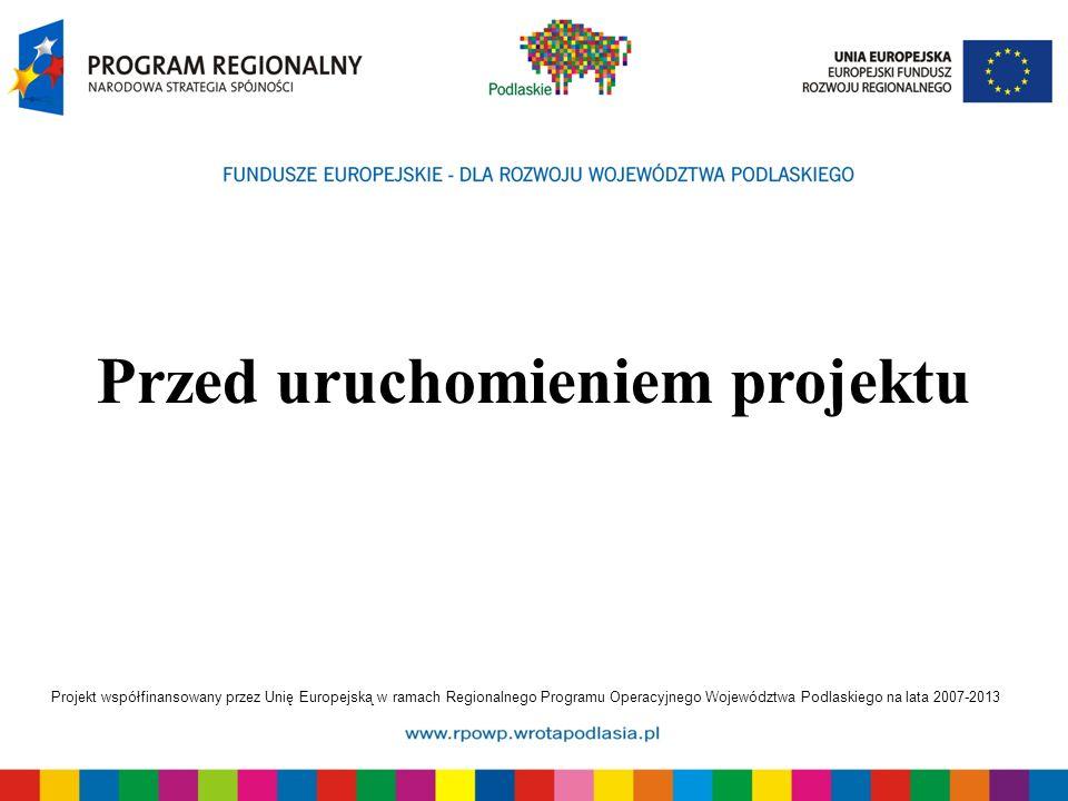 Projekt współfinansowany przez Unię Europejską w ramach Regionalnego Programu Operacyjnego Województwa Podlaskiego na lata 2007-2013 Przed uruchomieniem projektu