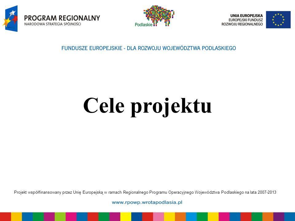 Projekt współfinansowany przez Unię Europejską w ramach Regionalnego Programu Operacyjnego Województwa Podlaskiego na lata 2007-2013 Cele projektu