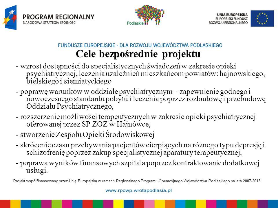 Projekt współfinansowany przez Unię Europejską w ramach Regionalnego Programu Operacyjnego Województwa Podlaskiego na lata 2007-2013 - wzrost dostępności do specjalistycznych świadczeń w zakresie opieki psychiatrycznej, leczenia uzależnień mieszkańcom powiatów: hajnowskiego, bielskiego i siemiatyckiego - poprawę warunków w oddziale psychiatrycznym – zapewnienie godnego i nowoczesnego standardu pobytu i leczenia poprzez rozbudowę i przebudowę Oddziału Psychiatrycznego, - rozszerzenie możliwości terapeutycznych w zakresie opieki psychiatrycznej oferowanej przez SP ZOZ w Hajnówce, - stworzenie Zespołu Opieki Środowiskowej - skrócenie czasu przebywania pacjentów cierpiących na różnego typu depresję i schizofrenię poprzez zakup specjalistycznej aparatury terapeutycznej, - poprawa wyników finansowych szpitala poprzez kontraktowanie dodatkowej usługi.