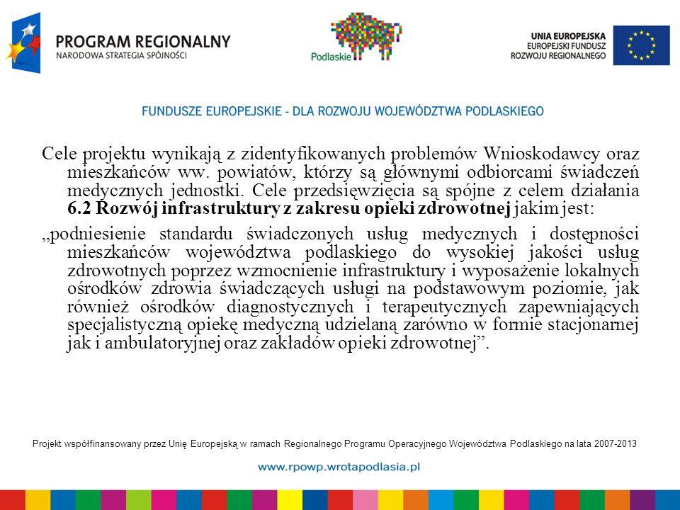 Projekt współfinansowany przez Unię Europejską w ramach Regionalnego Programu Operacyjnego Województwa Podlaskiego na lata 2007-2013 Cele projektu wyn