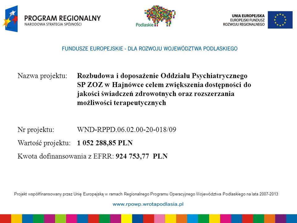Projekt współfinansowany przez Unię Europejską w ramach Regionalnego Programu Operacyjnego Województwa Podlaskiego na lata 2007-2013 Sala na Oddziale Psychiatrycznym, stan przed realizacją projektu