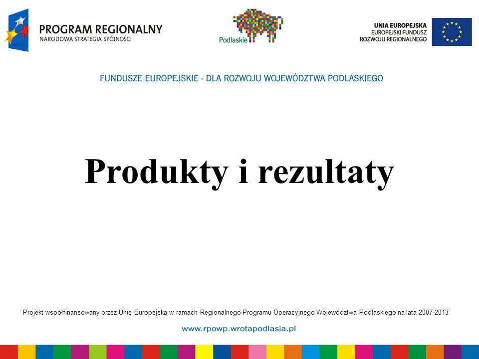 Projekt współfinansowany przez Unię Europejską w ramach Regionalnego Programu Operacyjnego Województwa Podlaskiego na lata 2007-2013 Produkty i rezult