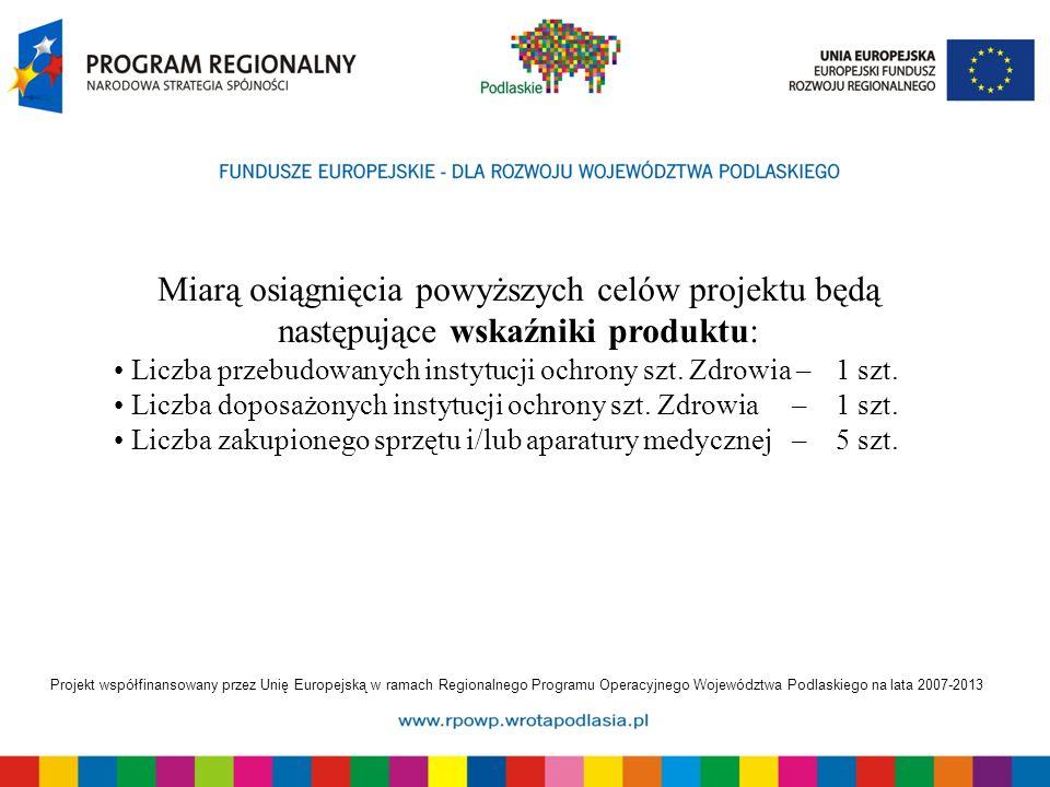 Projekt współfinansowany przez Unię Europejską w ramach Regionalnego Programu Operacyjnego Województwa Podlaskiego na lata 2007-2013 Miarą osiągnięcia