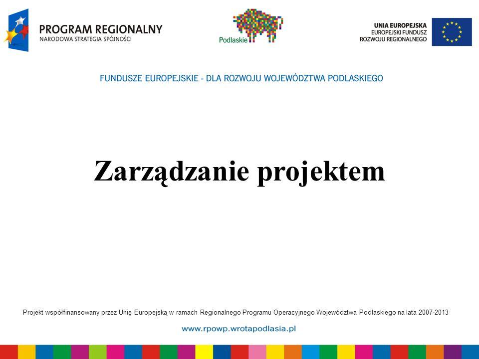 Projekt współfinansowany przez Unię Europejską w ramach Regionalnego Programu Operacyjnego Województwa Podlaskiego na lata 2007-2013 Zarządzanie projektem