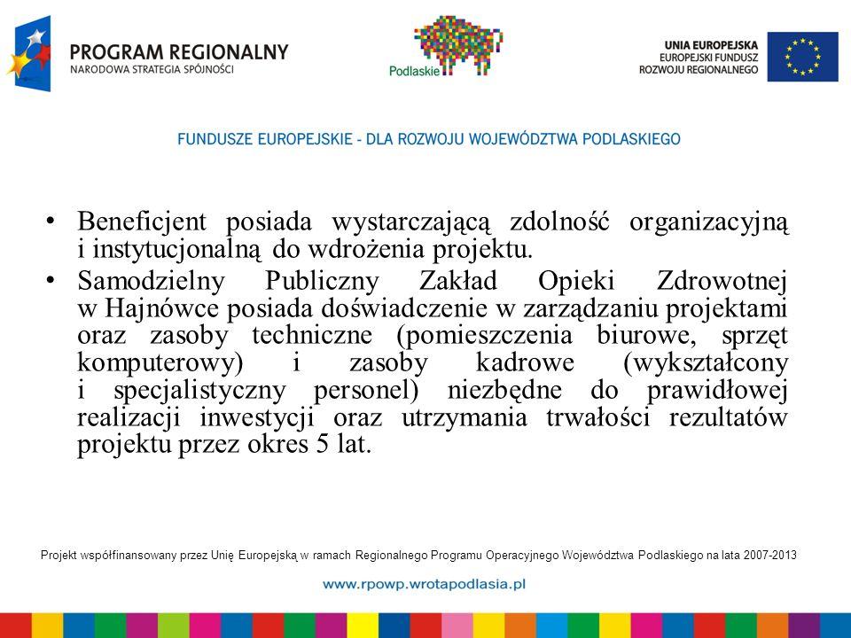 Projekt współfinansowany przez Unię Europejską w ramach Regionalnego Programu Operacyjnego Województwa Podlaskiego na lata 2007-2013 Beneficjent posiada wystarczającą zdolność organizacyjną i instytucjonalną do wdrożenia projektu.