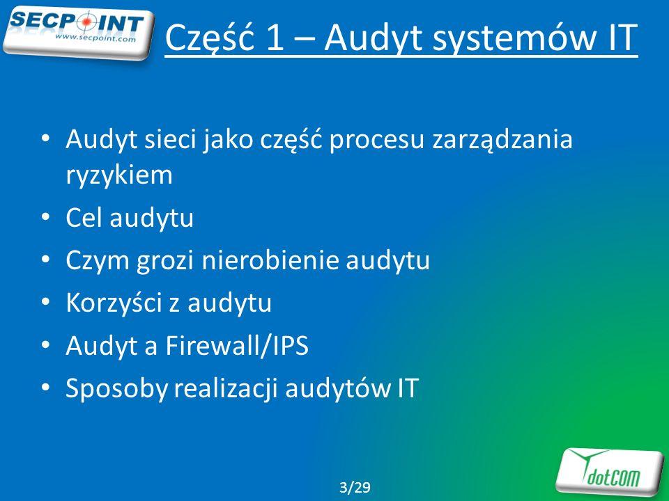 Oprogramowanie do audytu Zalety Jakość/Cena Czas trwania -> możliwość częstego i regularnego przeprowadzania audytu Wady Wymaga umiejętności instalacji i konfiguracji Pomyłki (tzw.