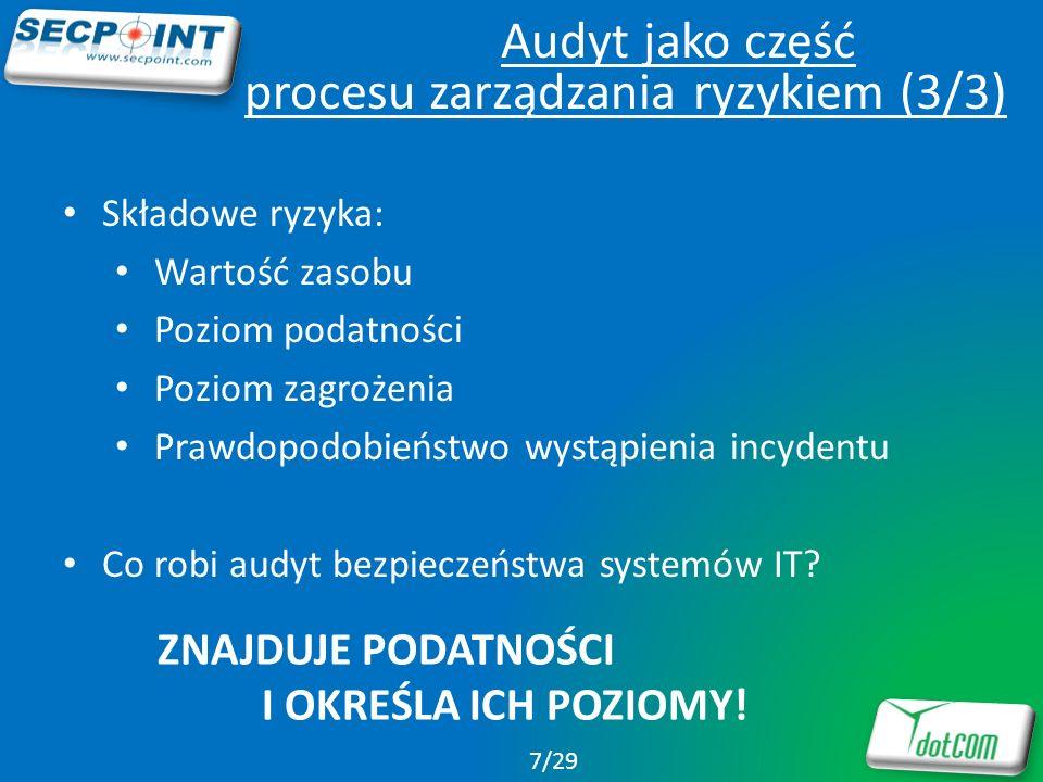 Jak kupić/przetestować SecPoint Penetrator Wersje dla organizacji o niemal dowolnej wielkości Darmowy test jednego adresu IP Manager sprzedaży: Maciej Kulka maciej.kulka@dtcom.pl www.dtcom.pl 28/29