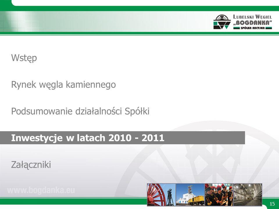 15 Wstęp Rynek węgla kamiennego Podsumowanie działalności Spółki Inwestycje w latach 2010 - 2011 Załączniki