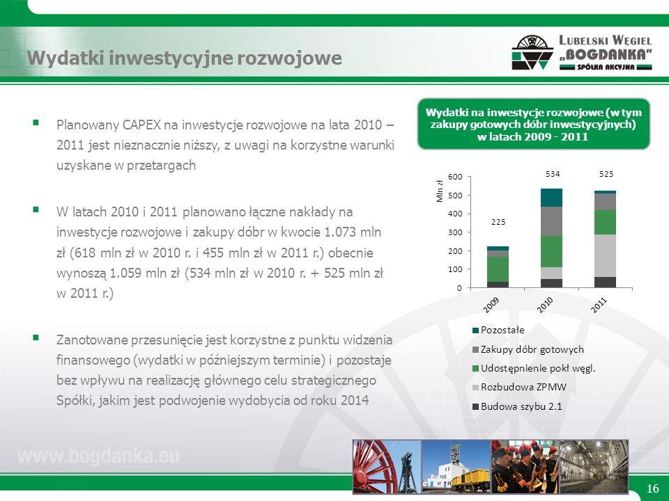 16 Wydatki na inwestycje rozwojowe (w tym zakupy gotowych dóbr inwestycyjnych) w latach 2009 - 2011 Planowany CAPEX na inwestycje rozwojowe na lata 2010 – 2011 jest nieznacznie niższy, z uwagi na korzystne warunki uzyskane w przetargach W latach 2010 i 2011 planowano łączne nakłady na inwestycje rozwojowe i zakupy dóbr w kwocie 1.073 mln zł (618 mln zł w 2010 r.
