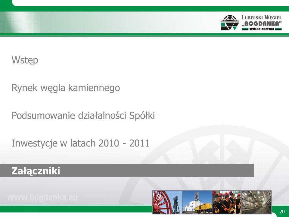 20 Wstęp Rynek węgla kamiennego Podsumowanie działalności Spółki Inwestycje w latach 2010 - 2011 Załączniki