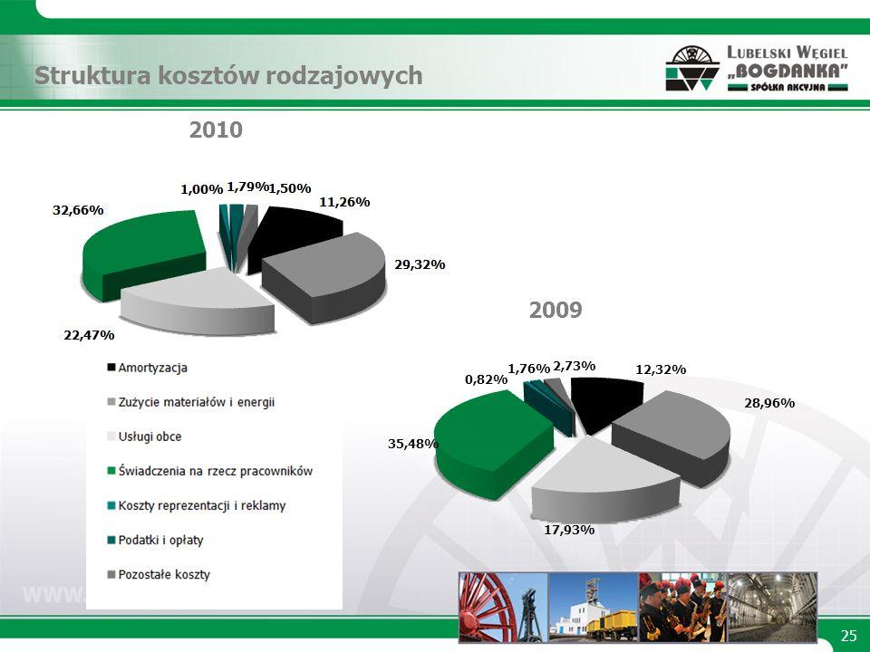 Struktura kosztów rodzajowych 2010 2009 25