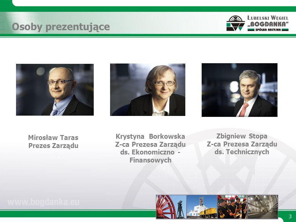 Osoby prezentujące Krystyna Borkowska Z-ca Prezesa Zarządu ds.