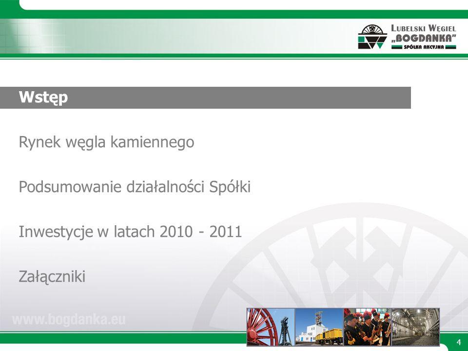 4 Wstęp Rynek węgla kamiennego Podsumowanie działalności Spółki Inwestycje w latach 2010 - 2011 Załączniki