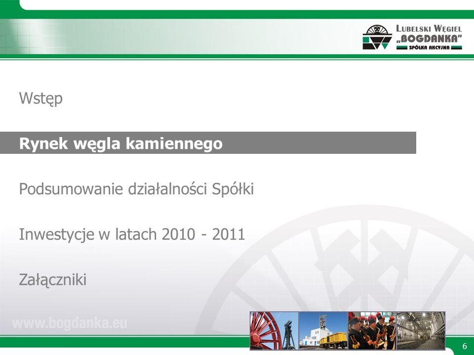 6 Wstęp Rynek węgla kamiennego Podsumowanie działalności Spółki Inwestycje w latach 2010 - 2011 Załączniki