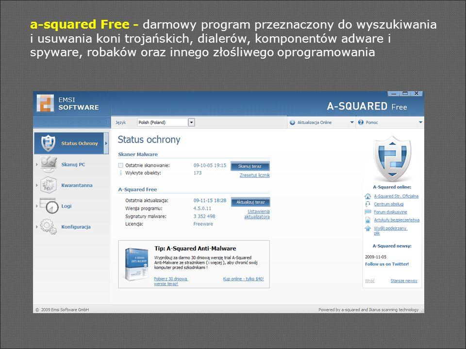 a-squared Free - darmowy program przeznaczony do wyszukiwania i usuwania koni trojańskich, dialerów, komponentów adware i spyware, robaków oraz innego