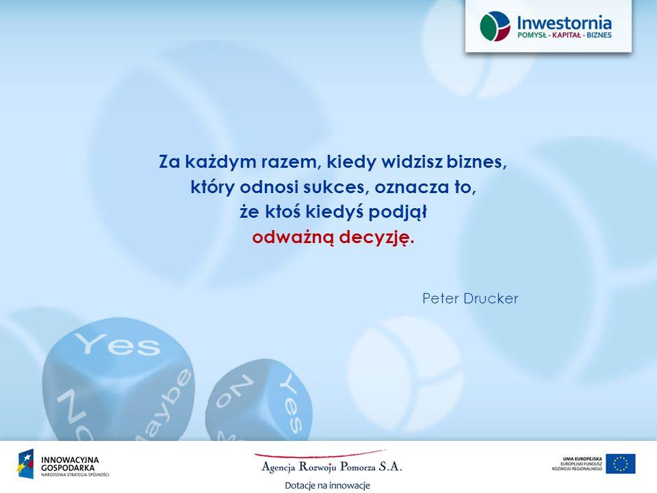 Za każdym razem, kiedy widzisz biznes, który odnosi sukces, oznacza to, że ktoś kiedyś podjął odważną decyzję. Peter Drucker