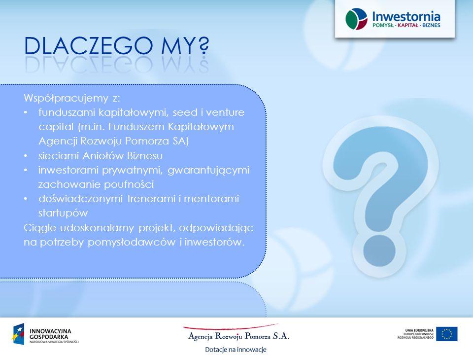 Współpracujemy z: funduszami kapitałowymi, seed i venture capital (m.in. Funduszem Kapitałowym Agencji Rozwoju Pomorza SA) sieciami Aniołów Biznesu in