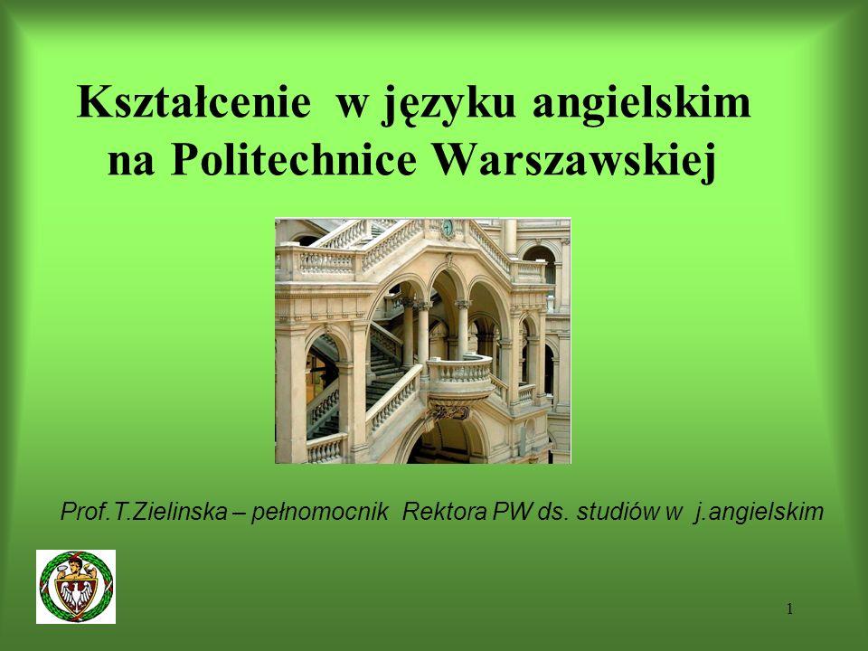 1 Kształcenie w języku angielskim na Politechnice Warszawskiej Prof.T.Zielinska – pełnomocnik Rektora PW ds.