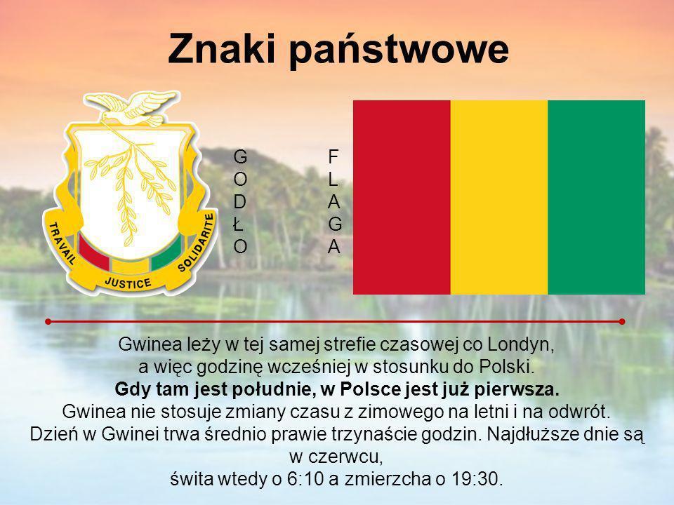 Znaki państwowe Gwinea leży w tej samej strefie czasowej co Londyn, a więc godzinę wcześniej w stosunku do Polski. Gdy tam jest południe, w Polsce jes