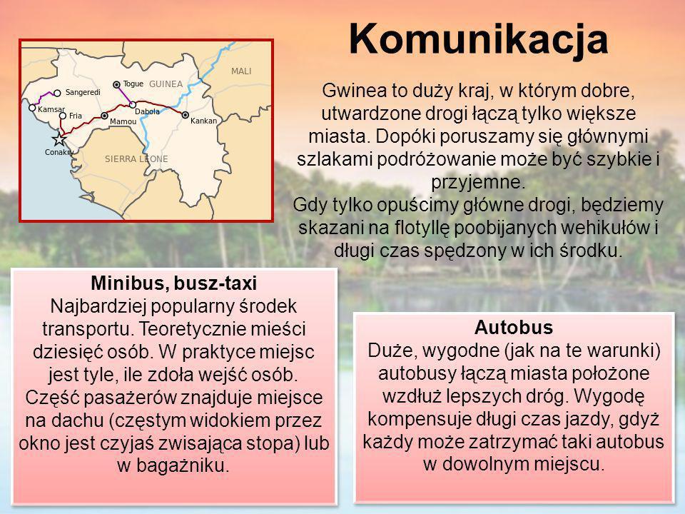Komunikacja Gwinea to duży kraj, w którym dobre, utwardzone drogi łączą tylko większe miasta. Dopóki poruszamy się głównymi szlakami podróżowanie może