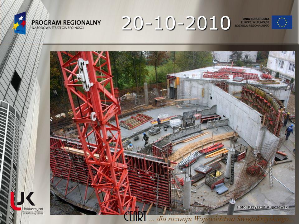 08-11-2010 Rozpoczęcie kolejnego etapu robót budowlanych – zbrojenie i wylewanie ścian parteru Rozpoczęcie kolejnego etapu robót budowlanych – zbrojenie i wylewanie ścian parteru Zbrojenie i betonowanie słupów podporowych budynku Zbrojenie i betonowanie słupów podporowych budynku … dla rozwoju Województwa Świętokrzyskiego...