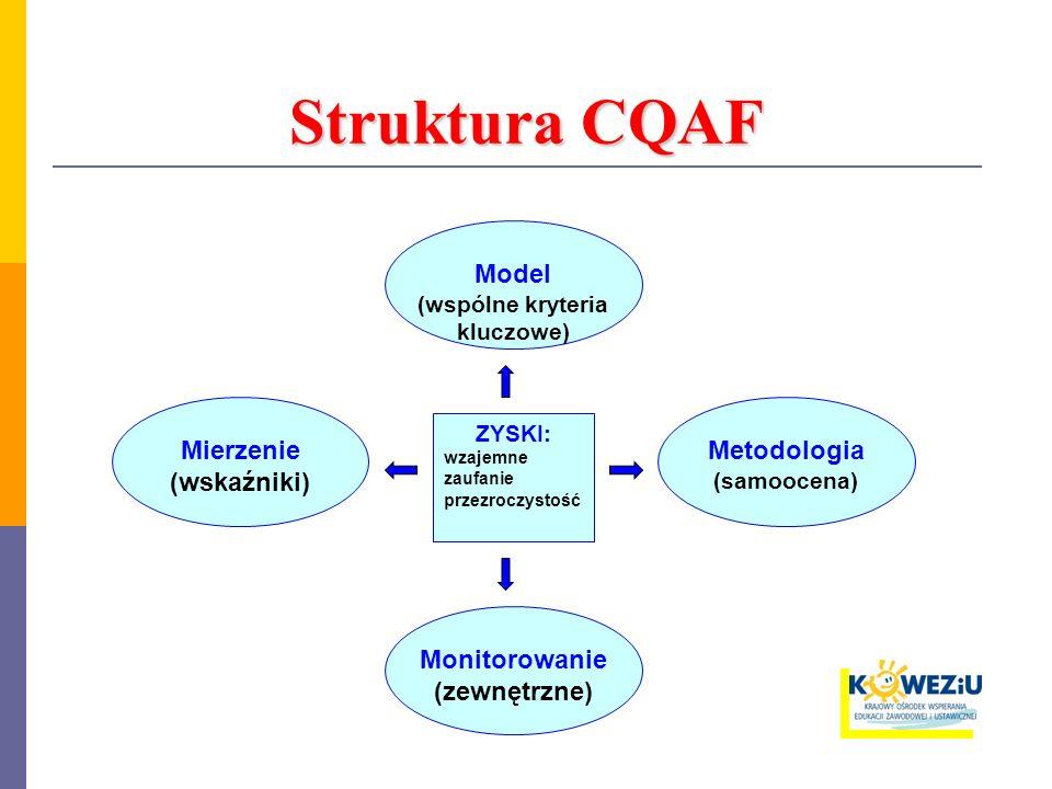Struktura CQAF Model (wspólne kryteria kluczowe) Mierzenie (wskaźniki) Monitorowanie (zewnętrzne) ZYSKI: wzajemne zaufanie przezroczystość Metodologia (samoocena)