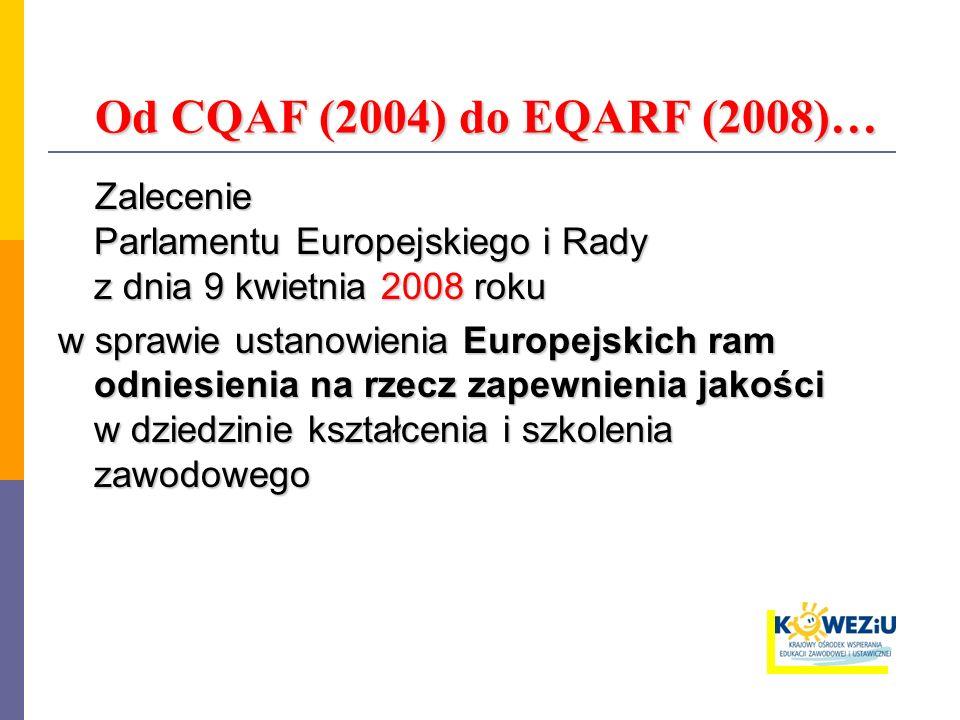 Od CQAF (2004) do EQARF (2008)… Od CQAF (2004) do EQARF (2008)… Zalecenie Parlamentu Europejskiego i Rady z dnia 9 kwietnia 2008 roku Zalecenie Parlamentu Europejskiego i Rady z dnia 9 kwietnia 2008 roku w sprawie ustanowienia Europejskich ram odniesienia na rzecz zapewnienia jakości w dziedzinie kształcenia i szkolenia zawodowego