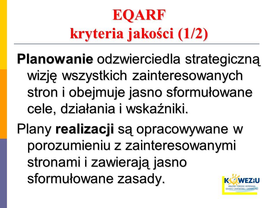EQARF kryteria jakości (1/2) Planowanie odzwierciedla strategiczną wizję wszystkich zainteresowanych stron i obejmuje jasno sformułowane cele, działan
