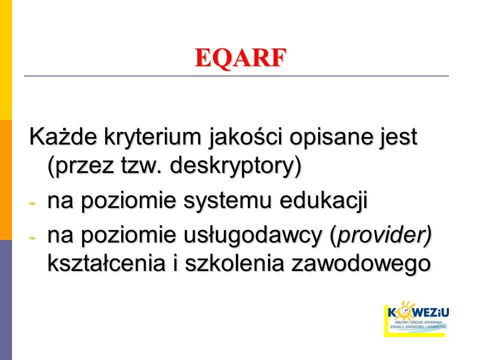 EQARF Każde kryterium jakości opisane jest (przez tzw. deskryptory) - na poziomie systemu edukacji - na poziomie usługodawcy (provider) kształcenia i