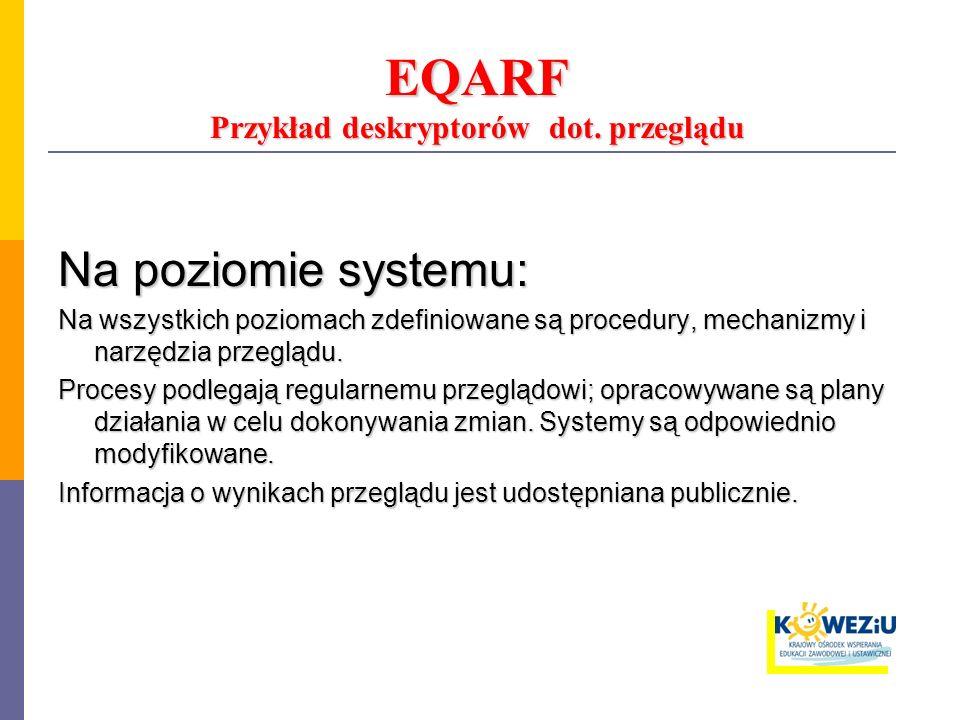 EQARF Przykład deskryptorów dot. przeglądu Na poziomie systemu: Na wszystkich poziomach zdefiniowane są procedury, mechanizmy i narzędzia przeglądu. P