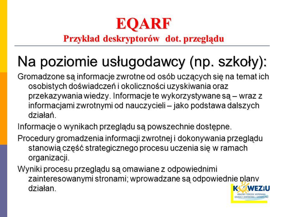 EQARF Przykład deskryptorów dot. przeglądu Na poziomie usługodawcy (np. szkoły): Gromadzone są informacje zwrotne od osób uczących się na temat ich os