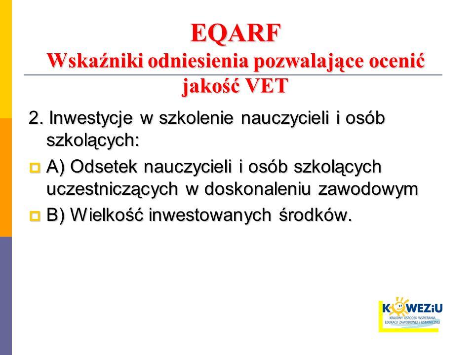 EQARF Wskaźniki odniesienia pozwalające ocenić jakość VET 2. Inwestycje w szkolenie nauczycieli i osób szkolących: A) Odsetek nauczycieli i osób szkol
