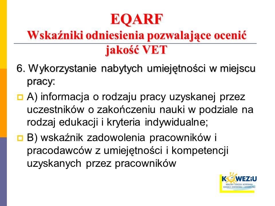 EQARF Wskaźniki odniesienia pozwalające ocenić jakość VET 6. Wykorzystanie nabytych umiejętności w miejscu pracy: A) informacja o rodzaju pracy uzyska