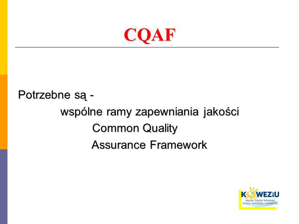 Dokument: Fundamentals of A Common Quality Assurance Framework for VET in Europe listopad 2003 rok – opublikowano raport technicznej grupy roboczej zajmującej się jakością w kształceniu zawodowym i szkoleniach - Quality in VET maj 2004 rok – propozycje zawarte w raporcie zatwierdzone zostały do realizacji przez Radę UE