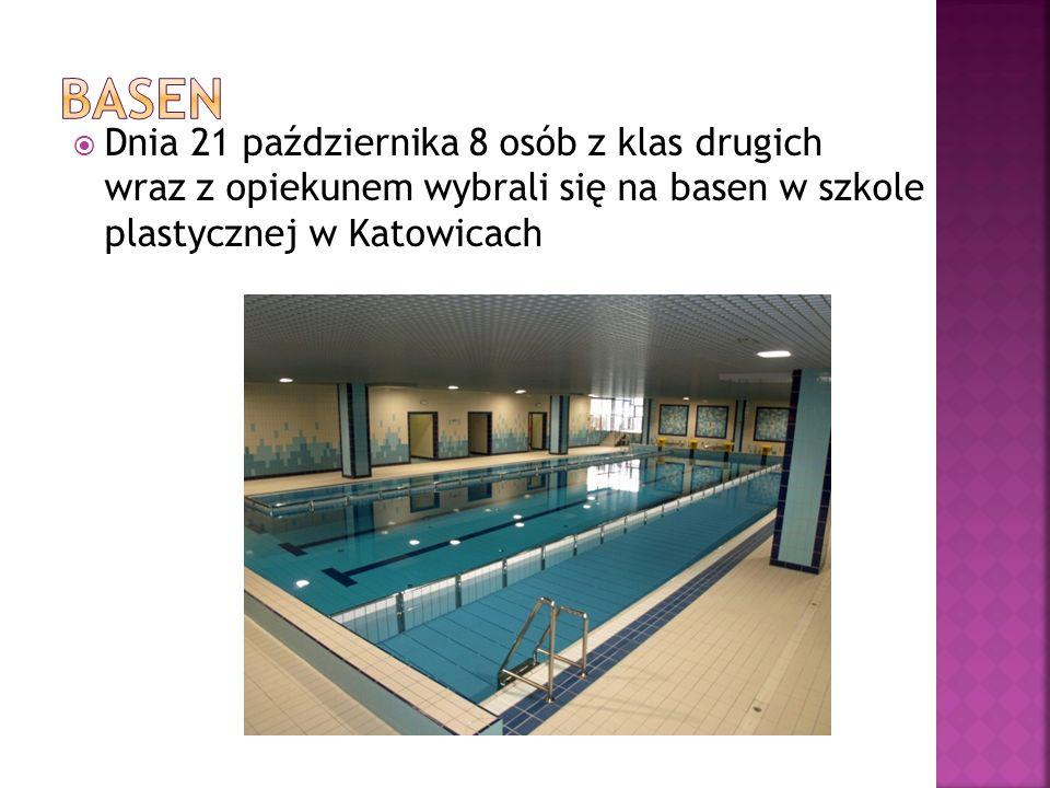 Dnia 21 października 8 osób z klas drugich wraz z opiekunem wybrali się na basen w szkole plastycznej w Katowicach