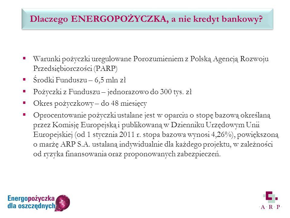 Warunki pożyczki uregulowane Porozumieniem z Polską Agencją Rozwoju Przedsiębiorczości (PARP) Środki Funduszu – 6,5 mln zł Pożyczki z Funduszu – jednorazowo do 300 tys.