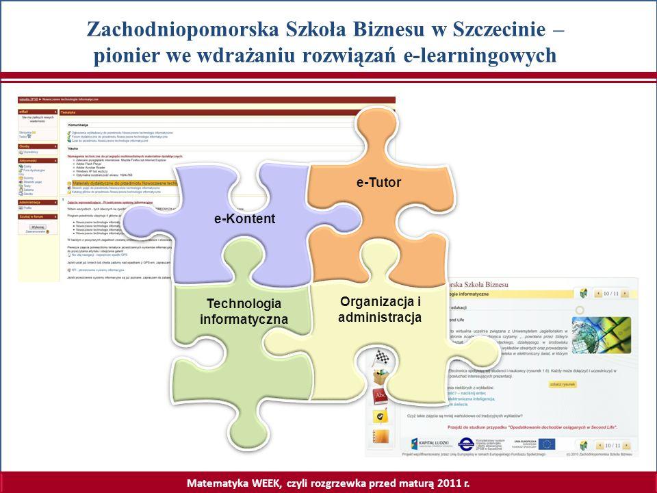 Matematyka WEEK, czyli rozgrzewka przed maturą 2011 r. Zachodniopomorska Szkoła Biznesu w Szczecinie – pionier we wdrażaniu rozwiązań e-learningowych
