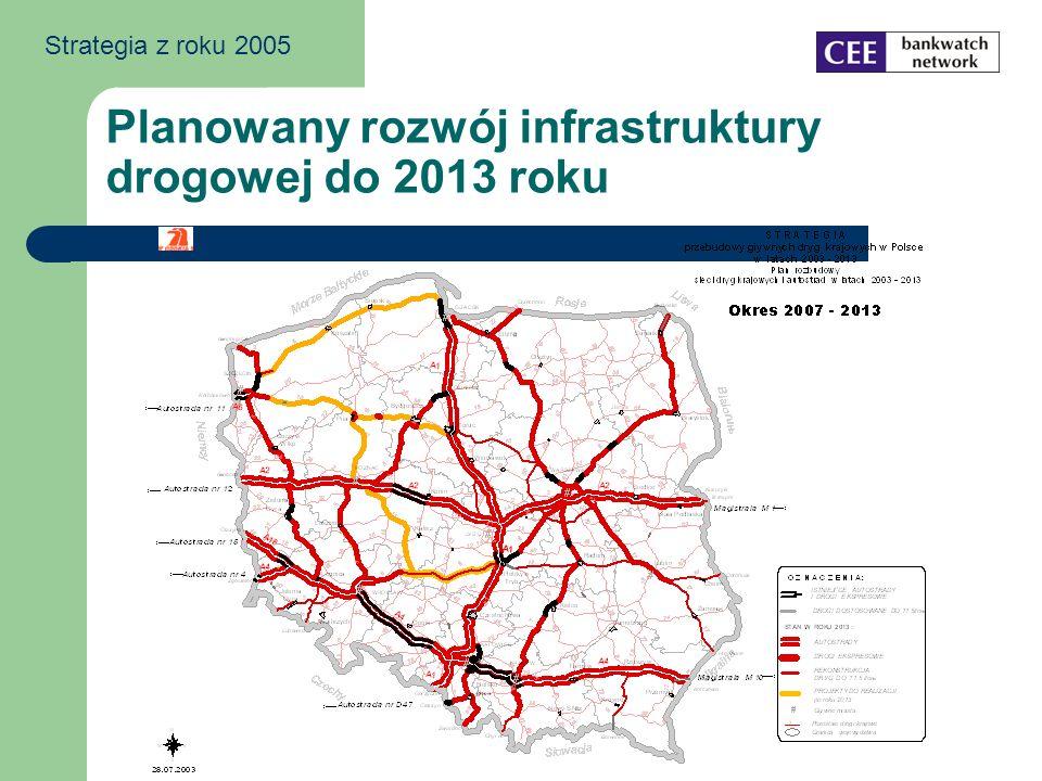 Planowany rozwój infrastruktury drogowej do 2013 roku Strategia z roku 2005