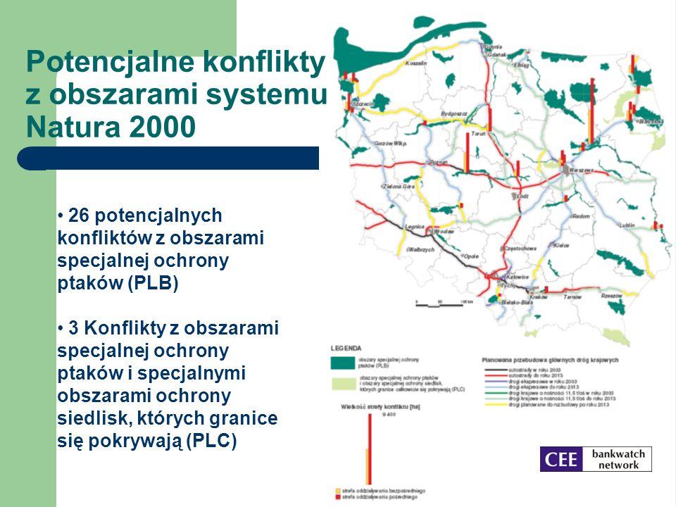 Potencjalne konflikty z obszarami systemu Natura 2000 26 potencjalnych konfliktów z obszarami specjalnej ochrony ptaków (PLB) 3 Konflikty z obszarami