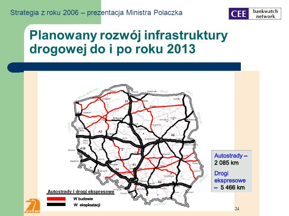 Planowany rozwój infrastruktury drogowej do i po roku 2013 Strategia z roku 2006 – prezentacja Ministra Polaczka
