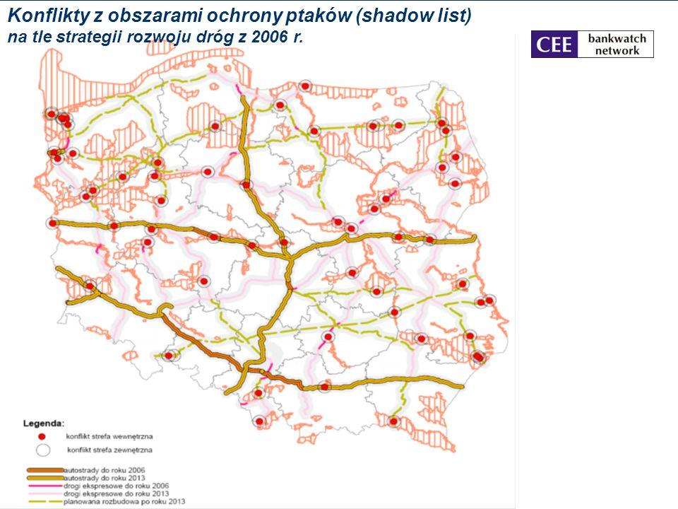Konflikty z obszarami ochrony ptaków (IBA) Konflikty z obszarami ochrony ptaków (shadow list) na tle strategii rozwoju dróg z 2006 r.