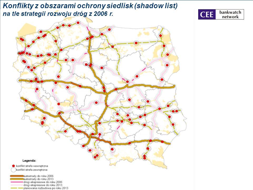 Konflikty z obszarami ochrony siedlisk (shadow list) na tle strategii rozwoju dróg z 2006 r.