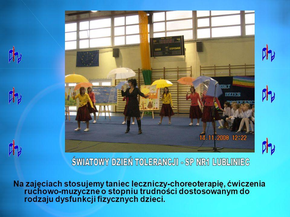 Na zajęciach stosujemy taniec leczniczy-choreoterapię, ćwiczenia ruchowo-muzyczne o stopniu trudności dostosowanym do rodzaju dysfunkcji fizycznych dz