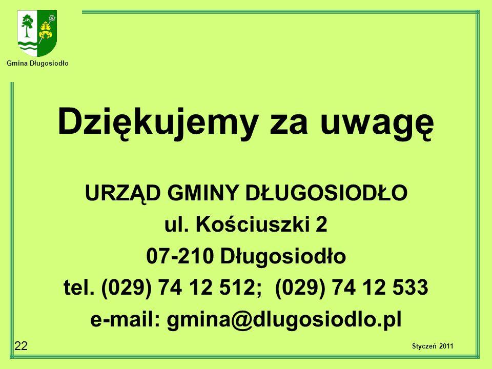 Gmina Długosiodło 22 Dziękujemy za uwagę URZĄD GMINY DŁUGOSIODŁO ul. Kościuszki 2 07-210 Długosiodło tel. (029) 74 12 512; (029) 74 12 533 e-mail: gmi
