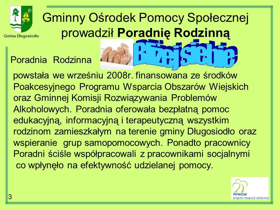 Gmina Długosiodło 3 Gminny Ośrodek Pomocy Społecznej prowadził Poradnię Rodzinną Poradnia Rodzinna powstała we wrześniu 2008r. finansowana ze środków