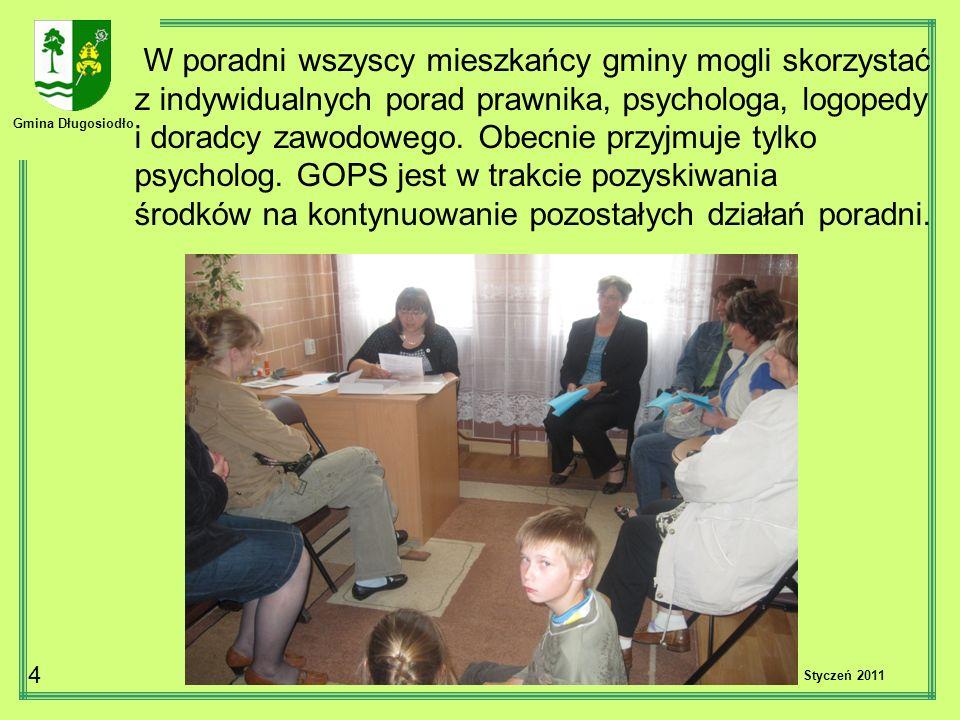 Gmina Długosiodło 4 W poradni wszyscy mieszkańcy gminy mogli skorzystać z indywidualnych porad prawnika, psychologa, logopedy i doradcy zawodowego. Ob