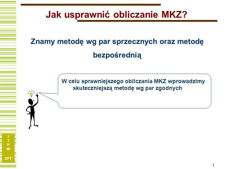 I T P W ZPT 2 Algorytm MKZ wg par zgodnych E – relacja zgodności (e i,e j ) E R j = { e i   i < j oraz (e i,e j ) E} RKZ k RKZ k+1 KZ RKZ k a) R k+1 =, RKZ k+1 jest powiększana o klasę KZ = {k+1} b) KZ R k+1 =, KZ bez zmian c) KZ R k+1, KZ = KZ R k+1 {k+1}