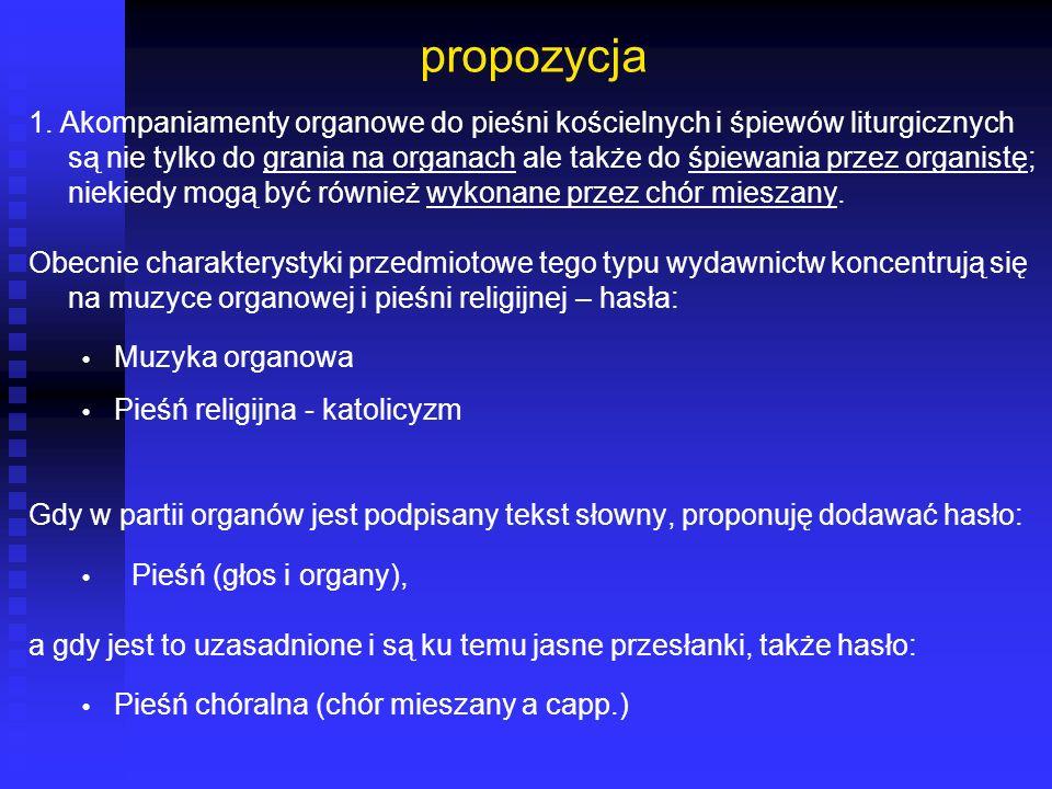 propozycja 1. Akompaniamenty organowe do pieśni kościelnych i śpiewów liturgicznych są nie tylko do grania na organach ale także do śpiewania przez or